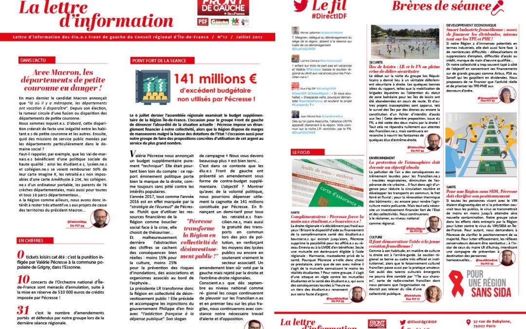 Lettre d'information n°17 / Juillet 2017