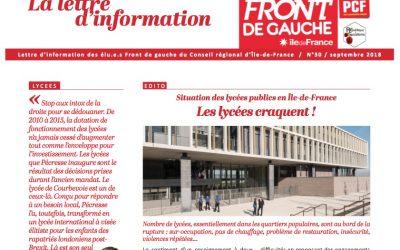 Lettre d'information n°29 / Septembre 2018