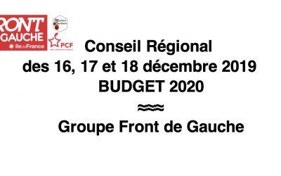 Budget 2020 – Séance 16, 17 & 18 décembre 2019