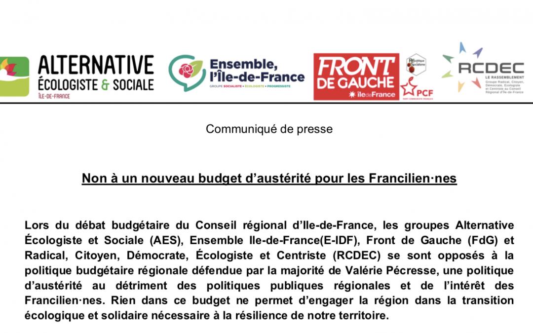 Non à un nouveau budget d'austérité pour les Francilien·nes
