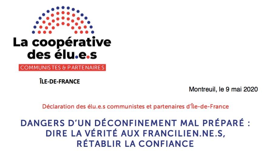 Dangers d'un déconfinement mal préparé: dire la vérité aux Franciliens, rétablir la confiance