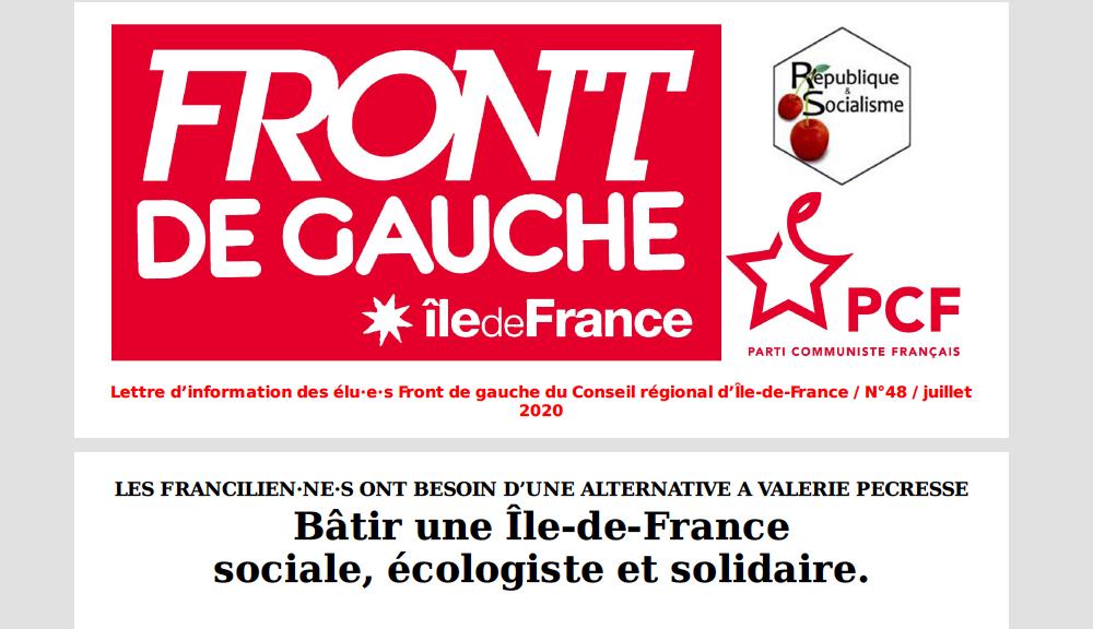 Lettre d'information des élu·e·s Front de gauche du Conseil régional d'Île-de-France / n°48 / juillet 2020