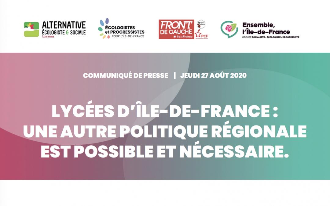 Lycées d'Ile-de-France : une autre politique régionale est possible et nécessaire