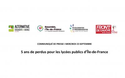 Communiqué de presse des élus de la gauche et des écologistes rassemblés en intergroupe au Conseil régional : 5 ans de perdus pour les lycées publics d'Île-de-France