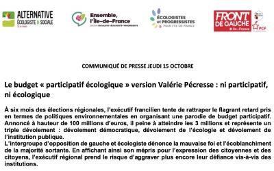 Communiqué de presse du jeudi 15 octobre – Le budget « participatif écologique » version Valérie Pécresse : ni participatif, ni écologique