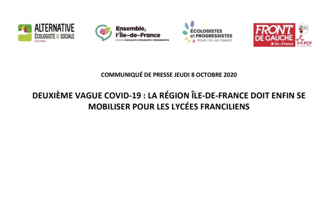 Communiqué de presse du jeudi 8 octobre 2020 – 2ème vague Covid-19 : La Région Île-de-France doit enfin se mobiliser pour les lycées franciliens