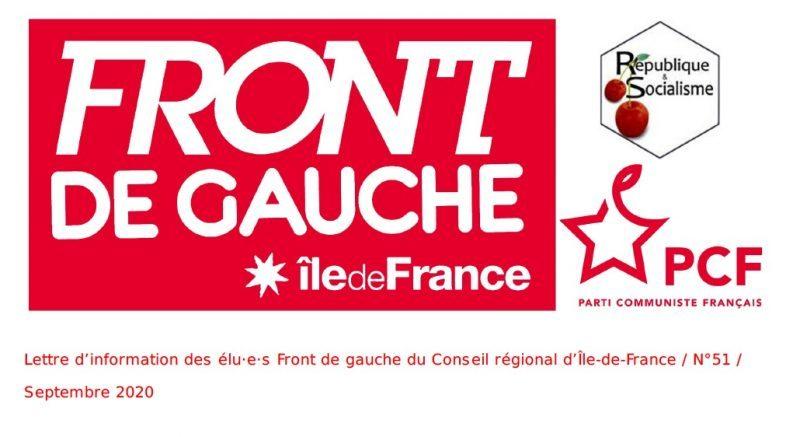 Lettre d'information des élu·e·s Front de gauche du Conseil régional d'Île-de-France / N°51 / Septembre 2020