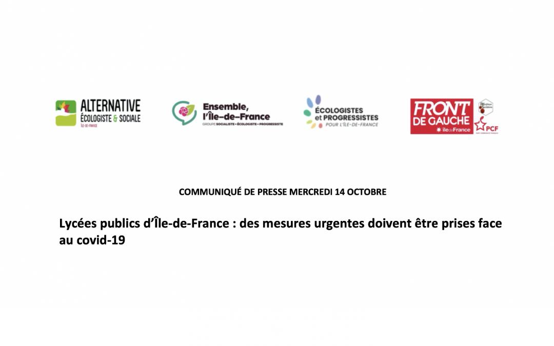 Communiqué de presse du mercredi 14 octobre 2020 –  Lycées publics d'Île-de-France : des mesures urgentes doivent être prises face au covid-19