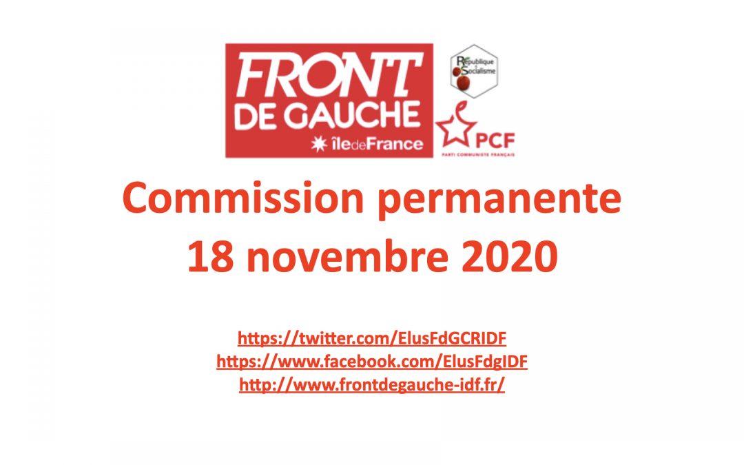 Commission permanente du 18 novembre 2020