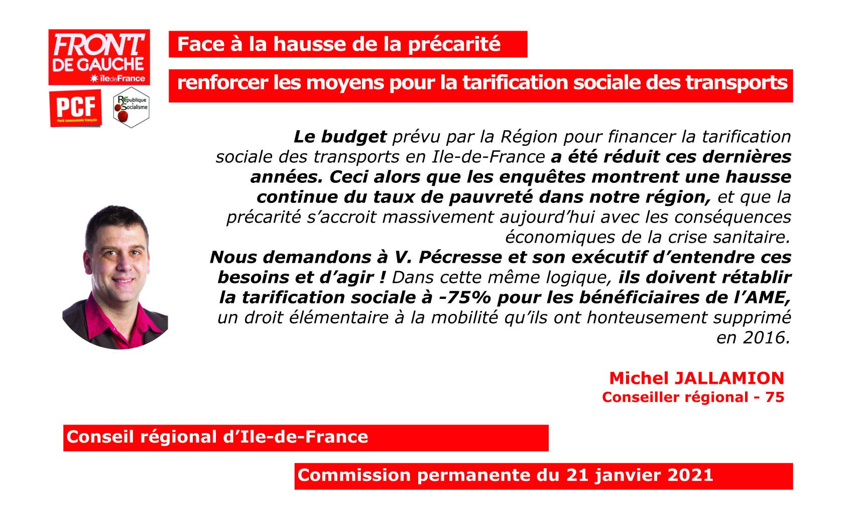 Michel tarification sociale dans les transports
